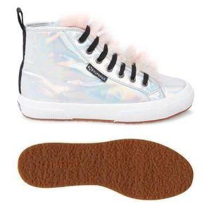 Superga Jocelyn High Top Shoes Iridescent Silver